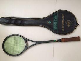 Vintage Dunlop Max 500 GS graphite injection squash racquet with carry case