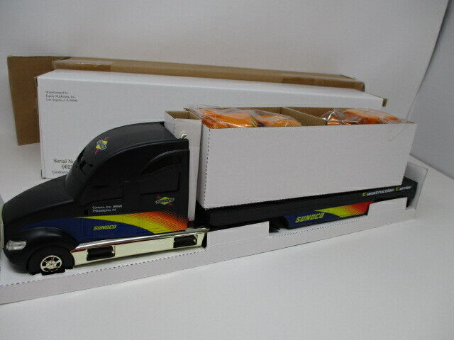 Sunoco 2002 Toy Truck Construction Trailer w/ Concrete Mixer and Back Hoe