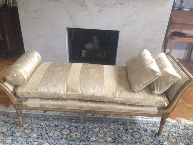Antique Louis XV style Chaise Longue newly restored and upholstered