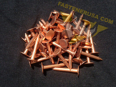 """1 3//4/"""" Smooth Plain Shank Solid Copper Roofing Nails 10 gauge 50 pcs"""
