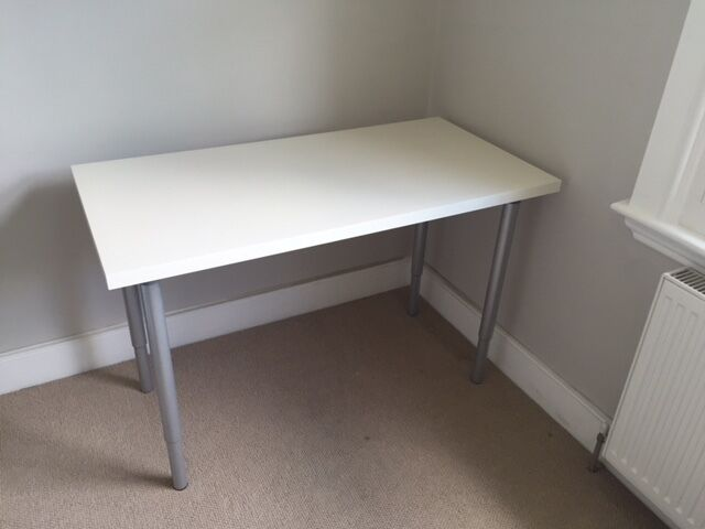 Ikea White Desk With Removable Legs Also Adjule Height Good Condition