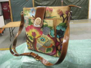 Sharif Hand Painted Leather Shoulder Bag Purse
