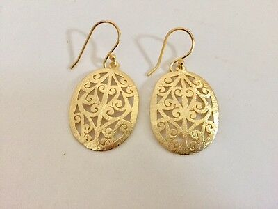 18K Gold On 925 Sterling Silver Drop Oval Disc Earrings Vermeil Circle -