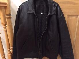 Men's Black Leather Jacket - Bomber style, size XL