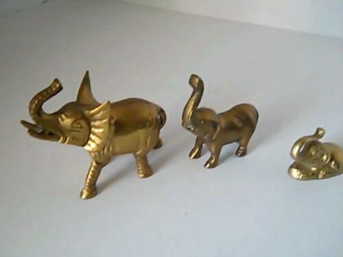 Elephants  Vintage  Metal  Gold  Color  Set Of 3 Figurines