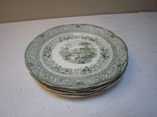 "Five Antique Green Transferware Ridgeway Grecian Pattern 7"" Plates"