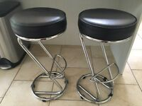 Black buffalo leather bar stools