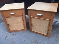 Bed side tables - wooden with rattan effect doors - cupboard and drawer -