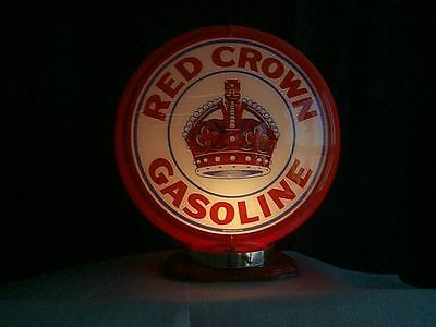 gas pump globe RED CROWN reproduction 2 glass lens in a RED plastic body NEW