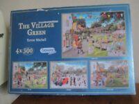 4 x 500 PIECE JIGSAWS. THE VILLAGE GREEN THROUGH THE SEASONS. COMPLETE