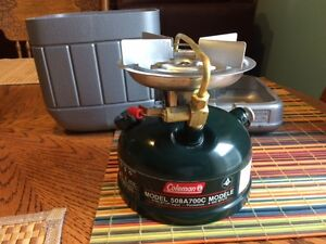 Brand New Duel Gas Coleman single burner stove with case