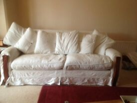 Tetrad large cream sofa, loose covers, 6 matching scatter cushions, cash on collection