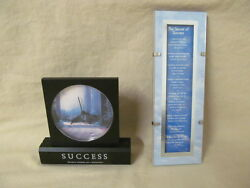 Analog Novelty Success Is Desk Clock & Success Sayings Framed Art Picture