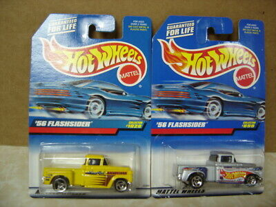 HOT WHEELS  LOT OF 2  1956 CHEVY FLASHSIDER TRUCKS 1/64 scale  1- #1028, 1- #899