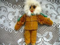 "9"" CDN YUKON DOLL BUCKSKIN SUEDE TOP,PANTS,FUR HOOD,MOCCS,MITTS"