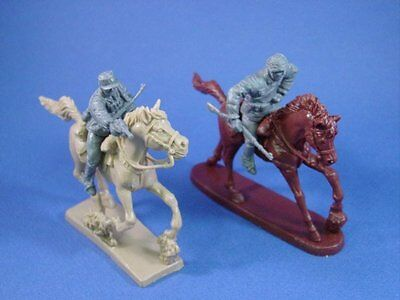 WWII Toy Soldiers Mounted German Infantry 2 Figures w 2 Horses 1/32 Scale 54mm