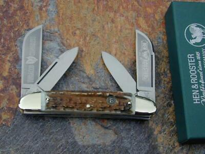 2010 CLASSIC HEN & ROOSTER STAG LRG TOBACCO CONGRESS KNIFE W/ CASE SOLINGEN NMIB