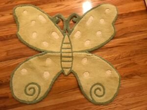 Pottery Barn Kids 100 % Wool Butterfly Shaped Rugs  - Set of 2