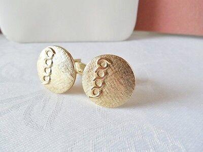 Vintage Round Goldtone Textured Cufflinks A10 on Rummage