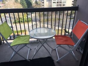 Moving Sale 4 Patio / garden  Balcony folding chairs and glass