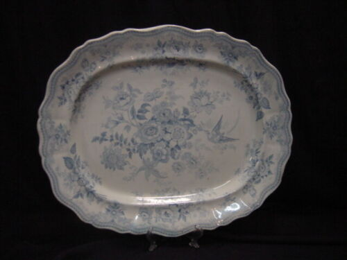 """Early Staffordshire Transferware 17"""" Platter with Blue and White Flowes"""