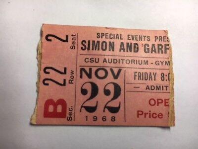 Simon & Garfunkel 1968 Concert 22nd Row Ticket Stub CSU Auditorium ULTRA RARE!