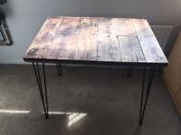 Walnut stained study/work desk with iron Matt black 3/pin legs £ 75 ovno