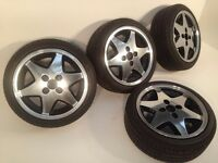 """RIAL 4X100, 15"""", 6.5J. Deep dish alloy wheels, MINT CONDITION, Polished, NEW tyres, not borbet, aez"""