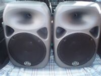 WHARFEDALE PRO TITAN 12A POWERED SPEAKERS - PAIR - WITH TOUR BAGS