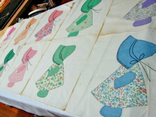 1920s VINTAGE LOT 10 LARGE HAND MADE SUNBONNET COTTON QUILT BLOCKS #2