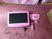"19"" Pink TV with DVD Player. HD Ready, Digital, LCD"