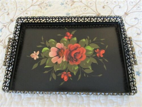 Antique Coral & Pink Hand Painted Roses Vintage Openwork Fancy Rim Tole Tray