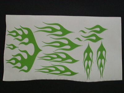 Kawaski Green Flame Motorcycle Helmet Graphic Decal Decals Graphics Stickers
