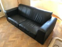 Genuine Italian Black Leather 3 Seater Sofa