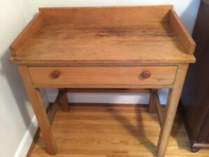 Antique Pre-1900 Washstand or Pine Desk With Drawer