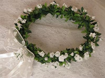 Haarschmuck weiß Kopfschmuck Kranz Kommunion Hochzeit Blumenmädchen