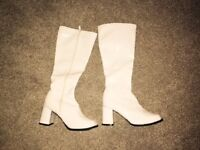 White 1960s style go go boots. Size 6