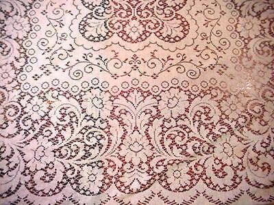 Vintage Ivory LACE Cottage Large Tablecloth Romantic FLORAL Classic Design NICE!