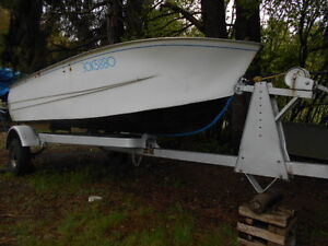 12 FOOT UNPOWERED FIBREGLASS BOAT ON TRAILER