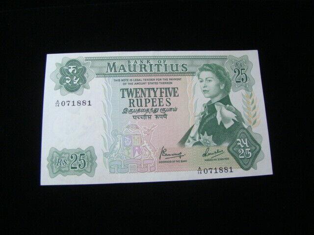 Mauritius 1967 25 Rupees Banknote Choice Uncirculated Pick#32b