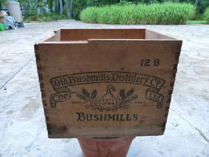 Vintage Old Bushmills Distillery wooden whiskey crate