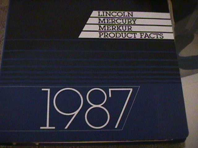SCARCE 1987 MERCURY AND LINCOLN  PRODUCT FACTS BINDER