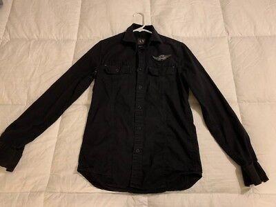 Armani Exchange A|X Men's Extra Small Dress Shirt Button Up Long Sleeve Black