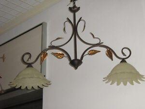 Lampadario bilancia in ferro battuto 2 luci per tavolo cucina tavernetta sala ebay - Luci per cucina ...
