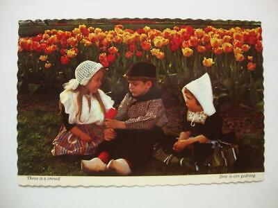 "938) Holland Michigan, ""Three Is A Crowd"", Authentically Dressed Kids, Postcard"
