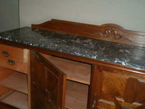 INVERMERE-BC.Antique Sideboard-marble/mahogany Revelstoke British Columbia image 2
