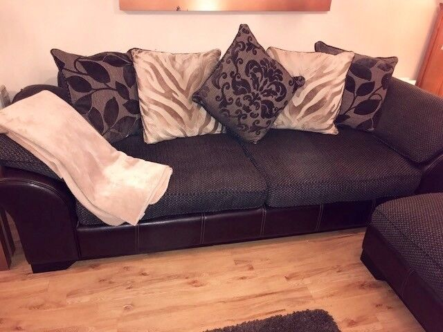 Four seater sofa and stool choc brown fabric