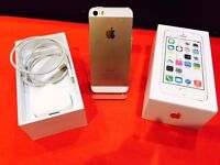 IPHONE 5S GOLD 16GB UNLOCKED WITH 12 MONTH WARRANTY COVERS PHONE,CABLE + CHARGER.