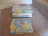 Blue/Yellow/Green Floral BHS Kingsize Quilt Cover x 2, Oxford Pillowcases x 4 & 2 Fitted Sheets VGC