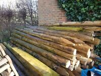 Rustic (Peeled & Pointed) Tanalith E Pressure Treated Fence Posts 100 - 125 mm dia x 2.7 metre